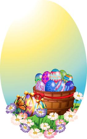Plantilla de fondo con huevos de Pascua en la ilustración de la cesta