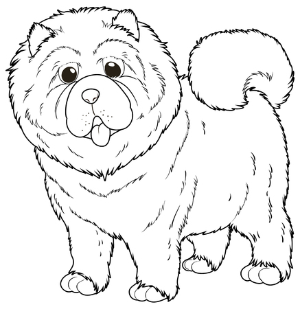 chow: Doodle animal for chow chow dog illustration