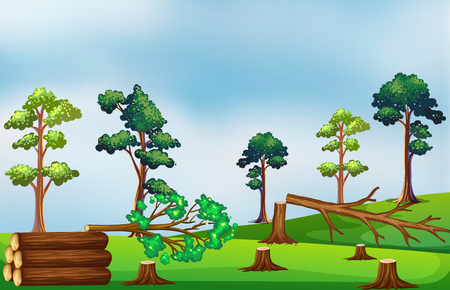Deforestation scene on the field illustration