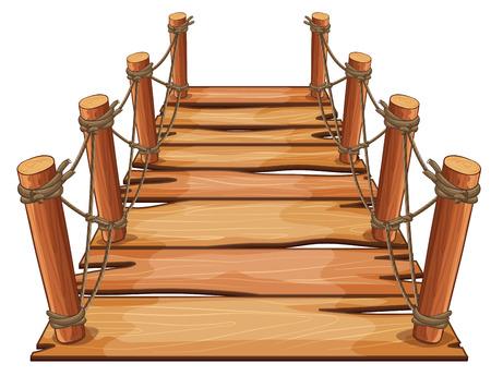 Puente de madera con ilustración de cuerda adjunta