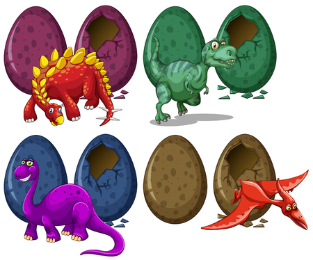 Dinosaurs hatching eggs on white background illustration