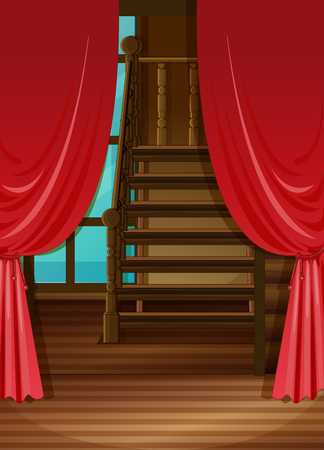 wooden partition: Room with red curtains illustration Illustration