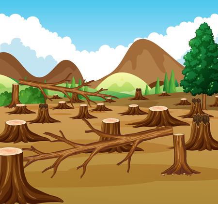Scena di montagna con illustrazione di vista di deforestazione