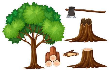 Tree and stump trees illustration