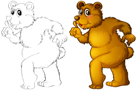 Animal outline for grizzle bear illustration Illustration