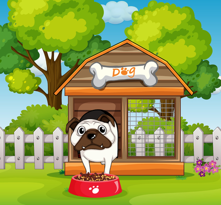 doghouse: Dog in the doghouse in garden illustration