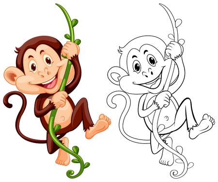 Drafting animal for monkey on vine illustration