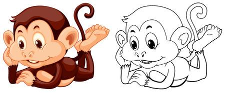 Animal outline for monkey relaxing illustration