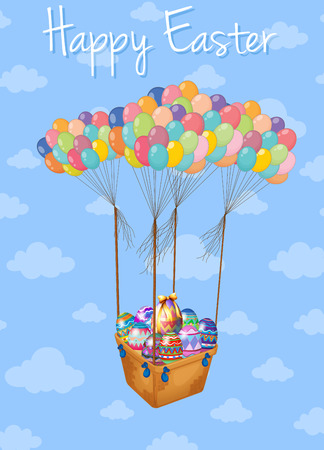 picture card: Happy Easter card with basket of eggs in sky illustration Illustration