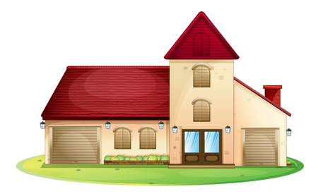 Big house with red roof illustration Illustration