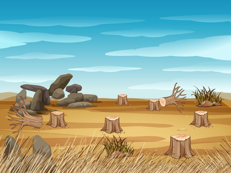 Field with stump trees illustration