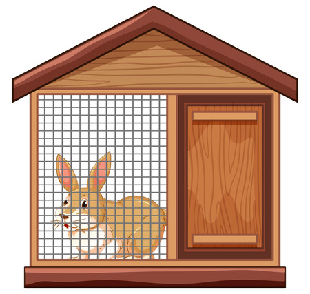 Cute rabbit in cage illustration