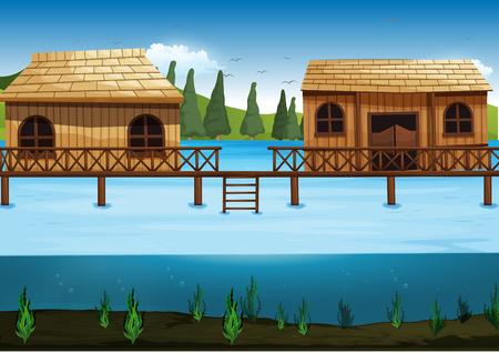 outside the house: Scene with two houses in the river illustration Illustration