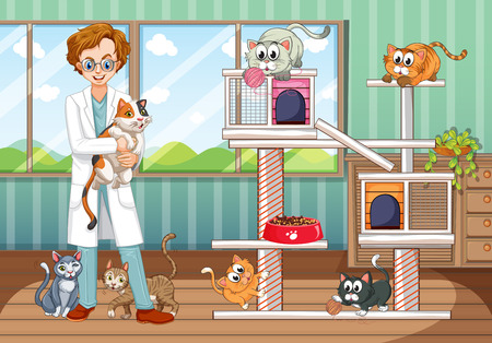 Vet working at animal hospital with many cats illustration Stock Illustratie