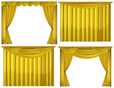 Cortinas amarillas en la ilustración de cuatro estilos