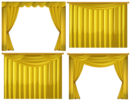 Yellow curtains in four styles illustration Illustration