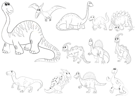 sauropod: Animal outline for different types of dinosaurs illustration Illustration