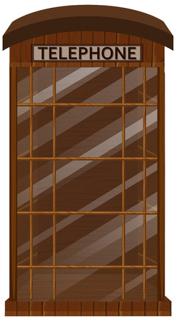Wooden telephone booth with glass door illustration