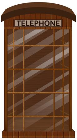 Houten telefooncel met glazen deurillustratie
