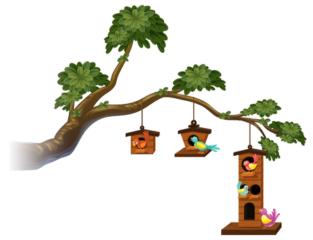 Birdhouses with birds on the branch illustration Illustration