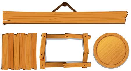 Different templates for wooden board illustration Illustration