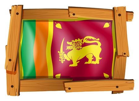 Sri Lanka flag in wooden frame illustration