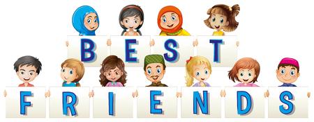 adolescent girl: Children holding sign for best friends illustration