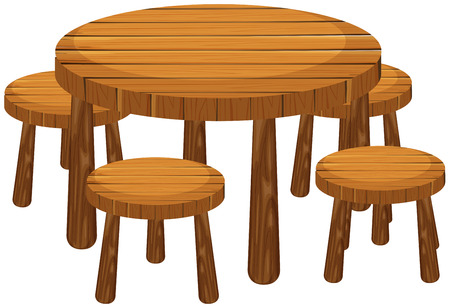 Round table and chairs illustration Illustration