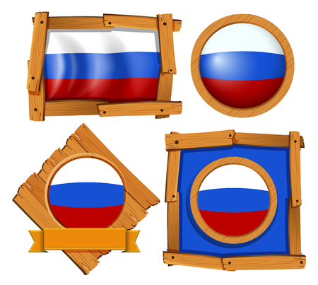 Russia flag on different frames illustration Illustration