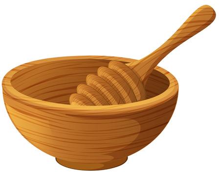 wooden stick: Wooden bowl and honey stick illustration.