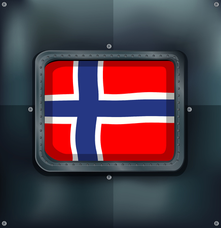 metal drawing: Norway flag in square frame illustration.