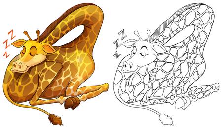 Animal outline for giraffe sleeping illustration.