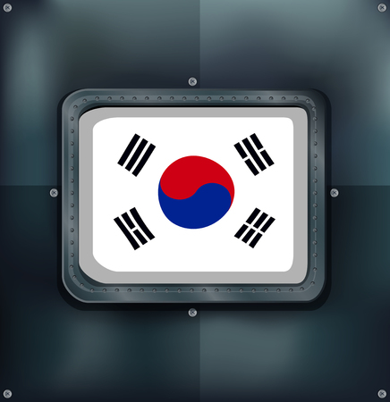metalic: South Korea flag on metalic background illustration.