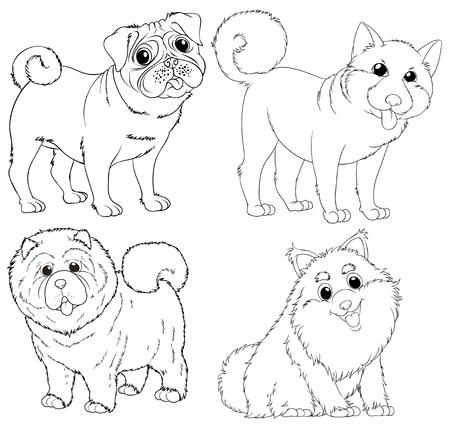 Garabatee los caracteres animales para la ilustración de los perros.