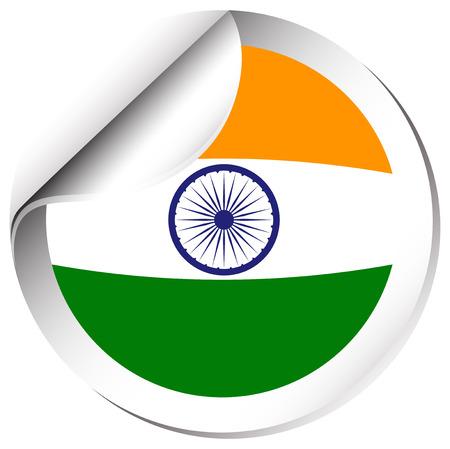 circl: Sticker design for India flag illustration. Illustration
