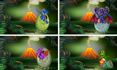 Four scenes with dinosaurs hatching eggs illustration.