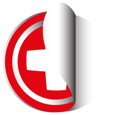 sticker design: Sticker design for Swiss flag illustration.