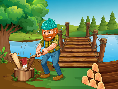 Man chopping woods by the river illustration.