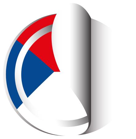 Czech republic flag in sticker design illustration vector