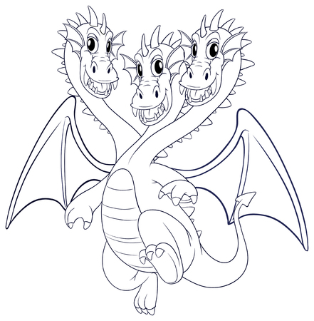 animal heads: Doodle animal character for dragon with three heads illustration.
