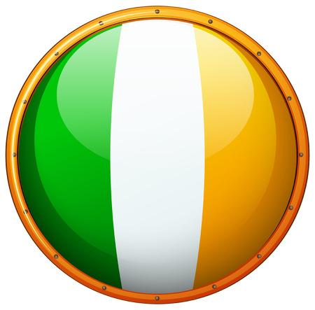Ireland flag on round button illustration.