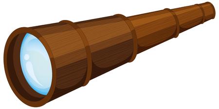 invent: Wooden telescope on white background illustration.
