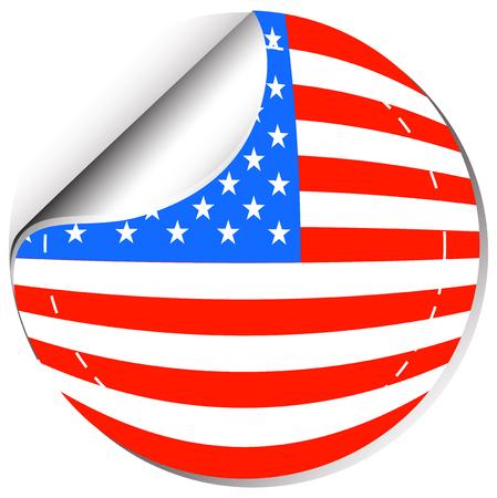 sticker design: America flag in sticker design illustration.