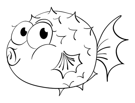 Animal outline for puffer fish illustration. Illustration