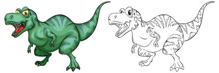 Animal outline for T-Rex dinosaur illustration.