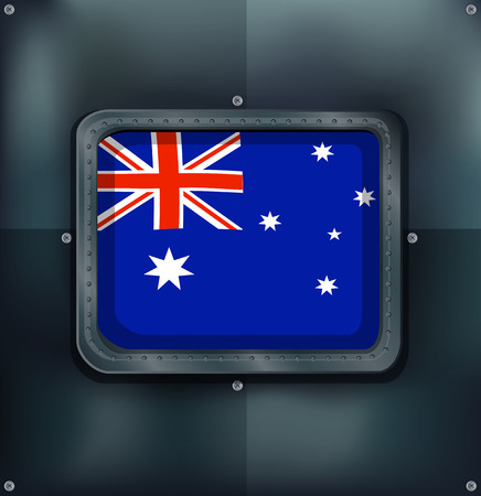 metalic: Australia flag on metalic background illustration.