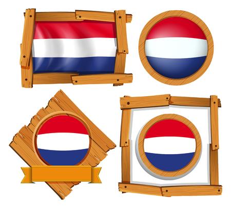 Netherlands flag in different frames illustration.