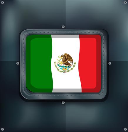 metalic design: Mexico flag in metal frame illustration.