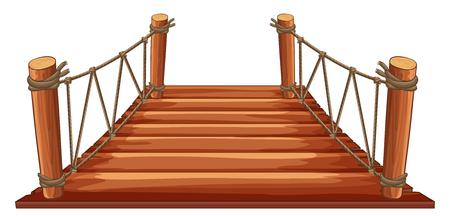 rope bridge: Wooden bridge with rope attached illustration Illustration