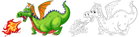Doodle animal for dragon blowing fire illustration